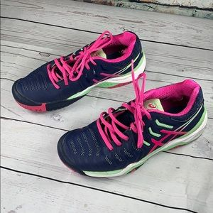 ASICS gel Resolution 7 navy & pink sneakers 6.5